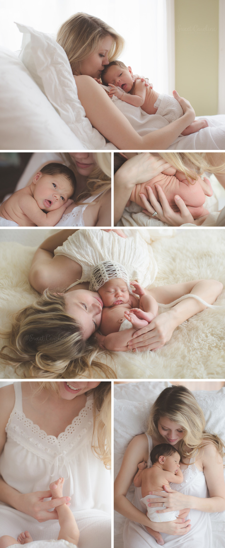 newborn girl with mama on natural neutral indoor bed